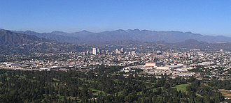 Glendale from Griffith Park in the southwest, with the San Gabriel Mountains in the background and the Verdugo Mountains on the extreme left Glendale panorama.jpg