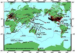 Global tectonic plate movement