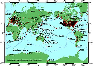 English: Plate tectonic movements measured by ...