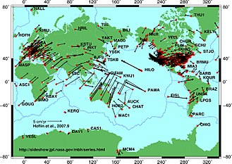 Plate tectonics - Image: Global plate motion 2008 04 17