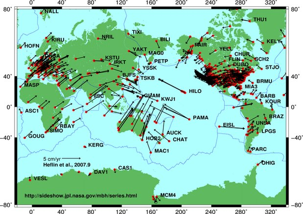 Plate motion based on Global Positioning System (GPS) satellite data from NASA JPL. The vectors show direction and magnitude of motion. Global plate motion 2008-04-17.jpg