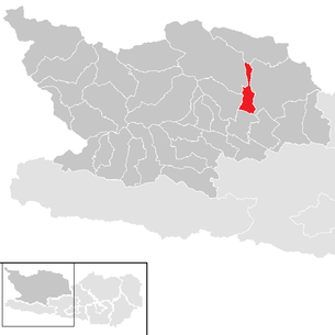 Location of the municipality of Gmünd in Carinthia in the Spittal an der Drau district (clickable map)