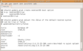 Configuration file - Image: Gnu grub config file