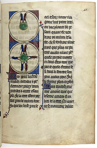 Medieval illustration of the spherical Earth in a 14th-century copy of L'Image du monde Gossuin de Metz - L'image du monde - BNF Fr. 574 fo42.jpg