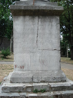 Column of the Goths - The inscription on the column's plinth is now virtually illegible.
