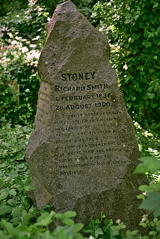 "Hovis - Grave of Richard ""Stoney"" Smith in Highgate Cemetery. The inscription details his discovery of the Hovis process."