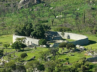 Ruins of Great Zimbabwe. Kalanga/Shona rulers of this kingdom dominated trade at Ingombe Ilede. Great-Zimbabwe-ruins-outer-walls-3-1200.jpg