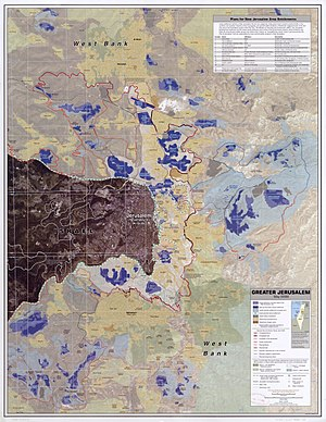 East Jerusalem - Greater Jerusalem, May 2006. CIA remote sensing map showing areas they consider settlements, plus refugee camps, fences, walls, etc.
