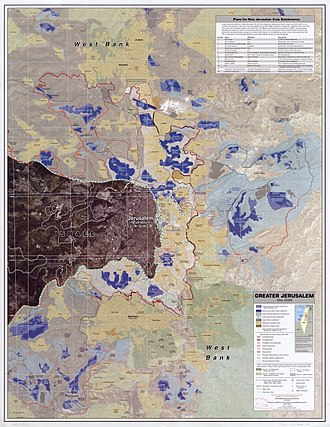 Positions on Jerusalem - Greater Jerusalem, May 2006. CIA remote sensing map showing what they regard as settlements, plus refugee camps, fences, walls, etc.