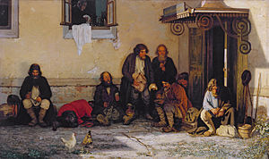Zemstvo - Zemstvo having a dinner by Grigoriy Myasoyedov. 1872.