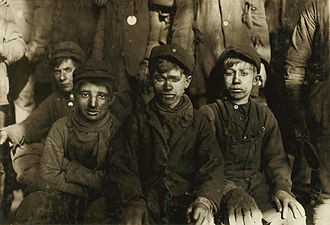 Child - Group of breaker boys in Pittston, Pennsylvania, 1911. Child labor was very common in U.S. and Europe in late 19th and early 20th century. Currently, child labor rates are highest in Africa.