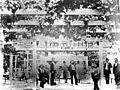 Group of men standing under an arbor at Washington Gardens, Los Angeles (CHS-2875).jpg