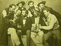 Gruppo di macchiaioili al caffè michelangelo, primi del '900.JPG