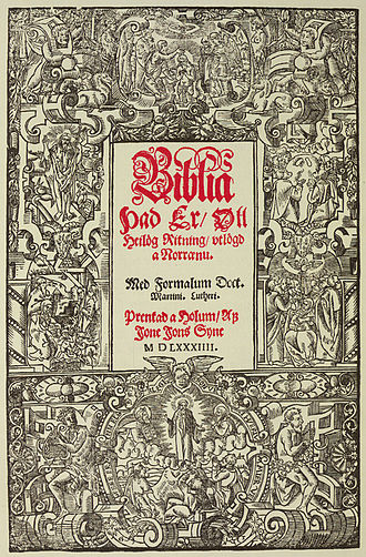 Icelandic literature - Frontispiece of the elaborate printed Bible of the bishop Guðbrandur Þorláksson, printed in 1584.