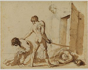 Print room - Drawing of martyrs John and Paul by Guercino, Courtauld Institute, London