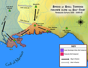 Pensacola culture - Spread of shell tempered pottery to and from the Pensacola culture area