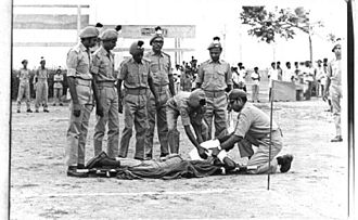 Home Guard (India) - Home Guards Demonstration-First aid.-1970
