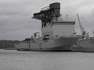 Bay-class landing ship - HMAS Choules at Fleet Base East in January 2012