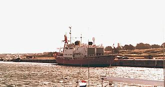 Invasion of South Georgia - HMS Endurance at Mar del Plata naval base, during her trip to the Falklands in February 1982