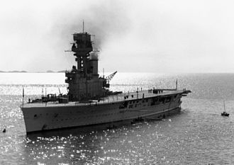 HMS Hermes (95) - Image: HMS Hermes (95) off Yantai China c 1931