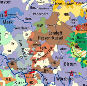 Landgraviate of Hesse-Darmstadt - Hesse-Darmstadt (HD) and Hesse-Kassel (HK) in 1789