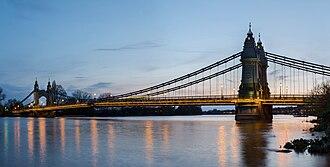 Hammersmith Bridge - Hammersmith Bridge and riverside, seen from the Hammersmith bank