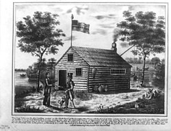 "William Henry Harrison greets a visitor at the ""First building on North Bend"" in an 1840 lithograph"