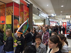 People lining up at Whitcoulls, Northlands Mall, Christchurch, New Zealand for the latest Harry Potter book.