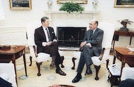 Harry W. Shlaudeman visits with Ronald Reagan.jpg