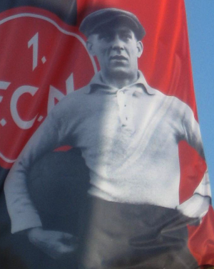 Heinrich Stuhlfauth - Photograph of Stuhlfauth on a banner commemorating 1. FC Nürnberg's 1927 championship triumph