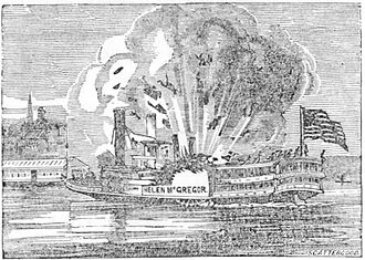 Boiler explosion - Steamboat explodes in Memphis, Tennessee in 1830