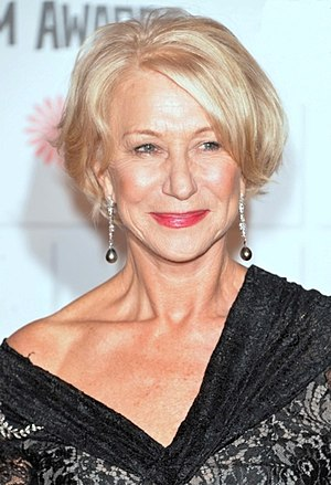 Helen Mirren won for her portrayal of Queen Elizabeth II in The Queen (2006). Helen Mirren 2014.jpg