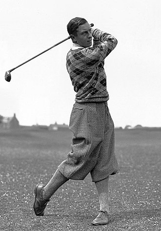 Golf stroke mechanics - Post swing pose for golfer Henry Cotton in 1931.