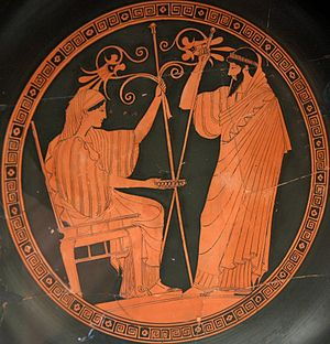 Hera and Prometheus. Tondo of an Attic red-fig...