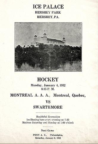 Hershey Bears - Hershey Ice Palace 1932 amateur hockey program