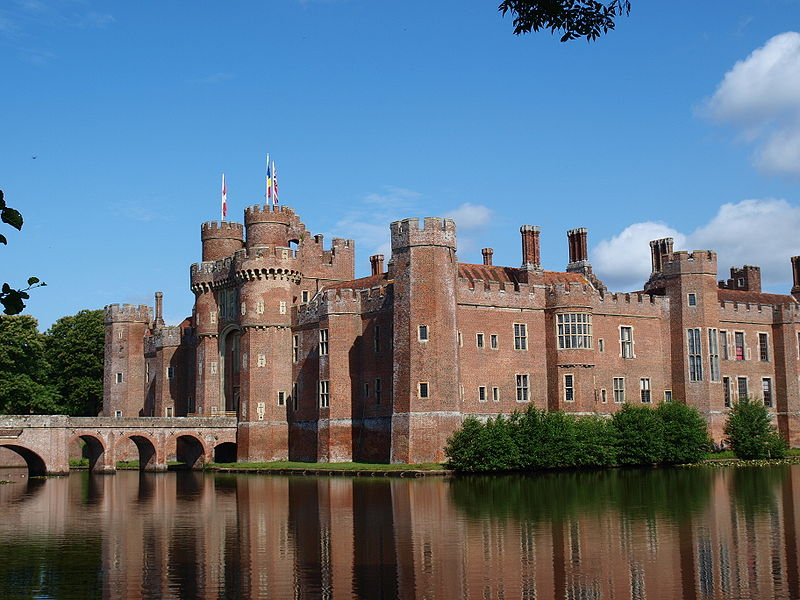 Fabulous red bricks of Herstmonceux castle, East Sussex, England. Credit: Wikipedia commons