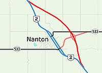 Proposed Highway 2 bypass of Nanton, Alberta.