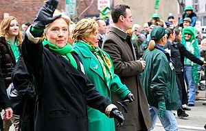 Luke Ravenstahl - Ravenstahl marches with Hillary Clinton and Catherine Baker Knoll in Pittsburgh's St. Patrick's Day Parade in 2008