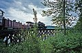 Hillcrest Lumber Company steam locomotive 1 Shay on Somenos Lake trestle at Forest Museum Duncan BC 16-Jul-1995.jpg