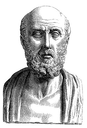 Psychology - Nineteenth-century engraving of an ancient Roman portrait bust depicting a conventionalized representation of the Greek doctor Hippocrates of Cos