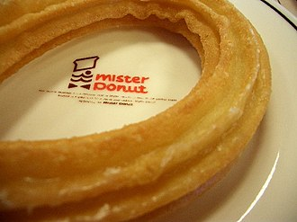 Mister Donut - A honey-glazed churro from a Japanese Mister Donut shop in 2006.