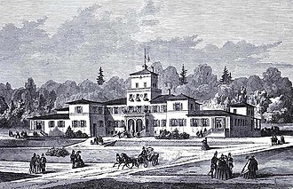 Hotel Marienlyst - Marienlyst Spa Hotel in 1860, illustration from Illustreret Tidende