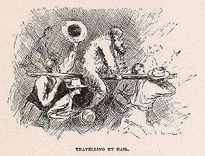 Riding a rail - A victim being paraded on a rail in Adventures of Huckleberry Finn