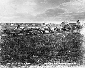 Fort Smith, Northwest Territories - HBC transport loaded with fur, Fort Smith circa 1900