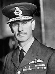 Head-and-shoulders portrait of a uniformed British air force general in his 50s wearing