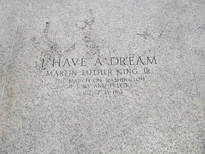 I Have a Dream - The location on the steps of the Lincoln Memorial from which King delivered the speech is commemorated with this inscription