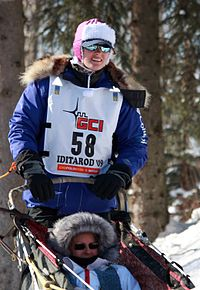 Iditarod musher Rachel Scdoris, a legally blind musher running her second Iditarod (3417415604).jpg