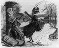 "Illus. of fable ""The ant and the grasshopper,"" showing two insects dressed as women, one holding a guitar LCCN2006691932.tif"