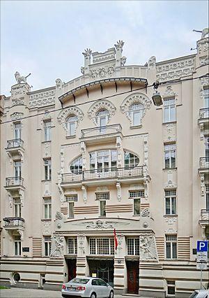 Albert Street, Riga - Image: Immeuble art nouveau (Riga) (7567163020)