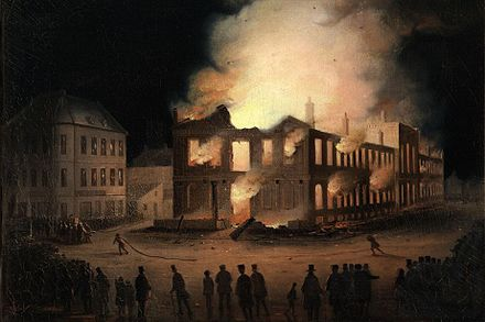 The burning of the Parliament Buildings in Montreal occurred on the night of April 25, 1849. Incendie Parlement Montreal.jpg